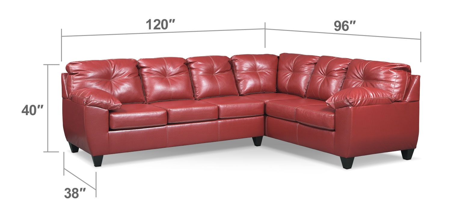 Living Room Furniture - Rialto 2-Piece Sectional with Left-Facing Corner Sofa - Cardinal