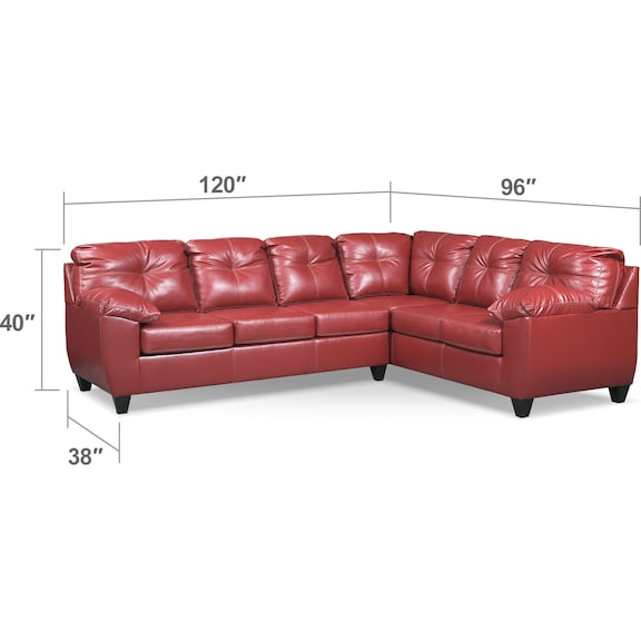 Living Room Furniture - Ricardo 2-Piece Innerspring Sleeper Sofa with Right-Facing Sofa - Cardinal