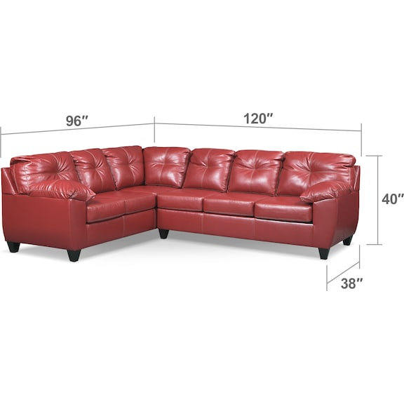 Living Room Furniture - Ricardo 2-Piece Innerspring Sleeper Sectional with Left-Facing Sofa - Cardinal