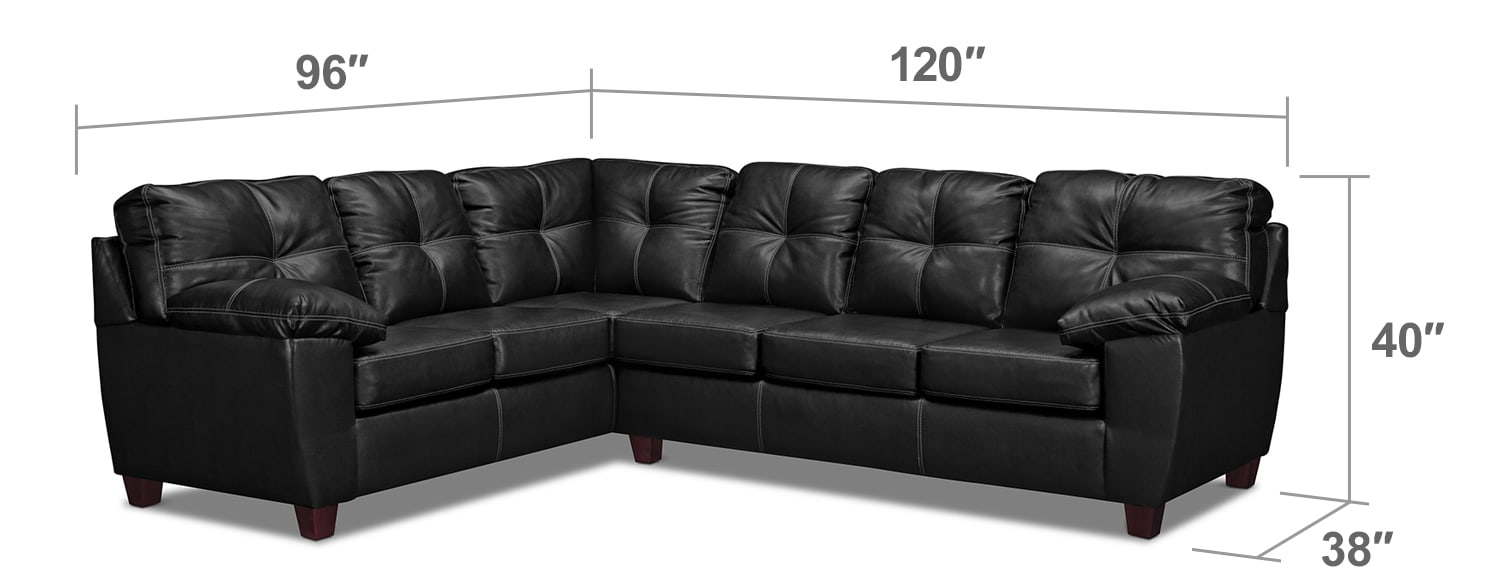 Living Room Furniture - Rialto Onyx 2-Pc. Sectional with Right-Facing Innerspring Sleeper