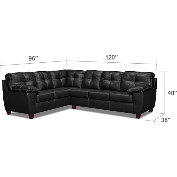 Living Room Furniture - Ricardo 2-Piece Innerspring Sleeper Sectional with Left-Facing Sofa - Onyx