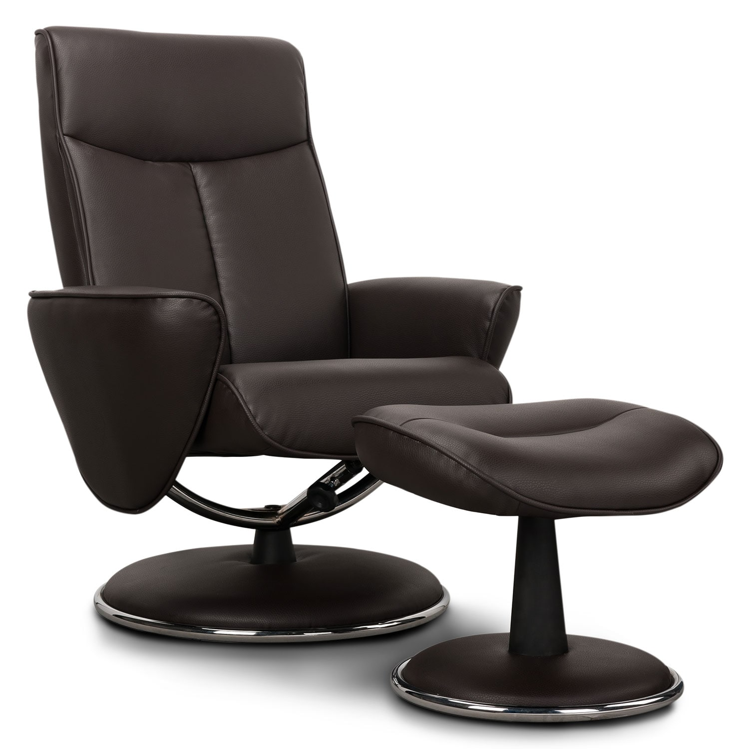 Living Room Furniture - Tracer Reclining Chair and Ottoman - Chocolate