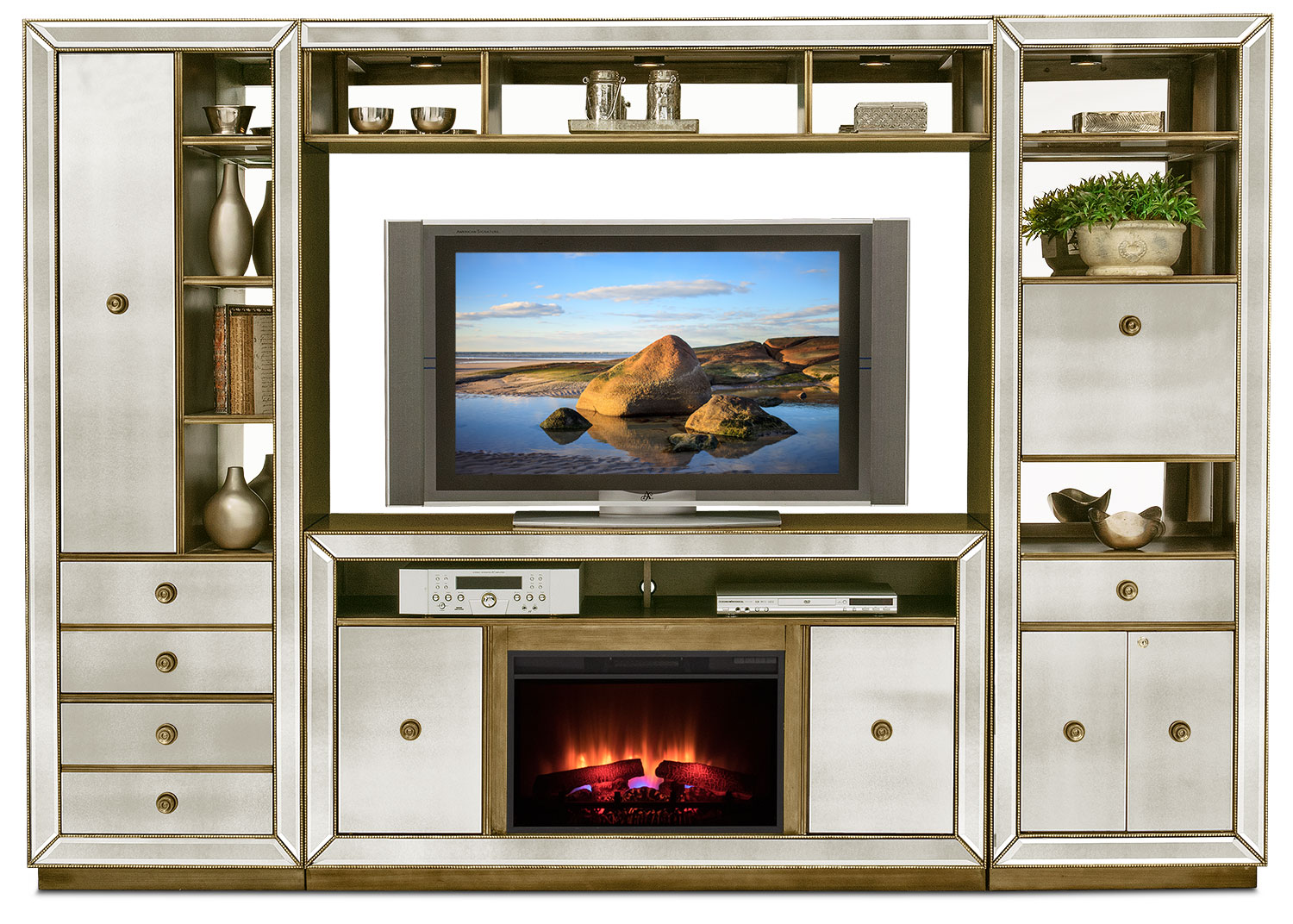 Entertainment Furniture - Reflection 4-Piece Entertainment Wall Unit with Traditional Fireplace - Mirror