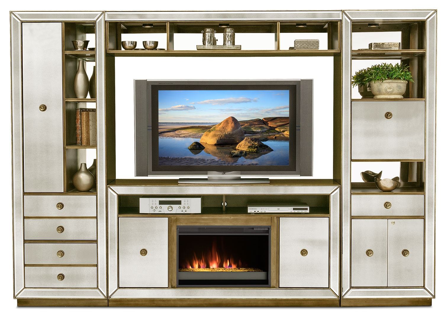 Entertainment Furniture - Reflection 4-Piece Entertainment Wall Unit with Contemporary Fireplace - Mirror