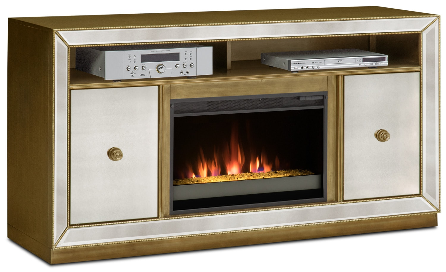 reflection contemporary fireplace tv stand mirror