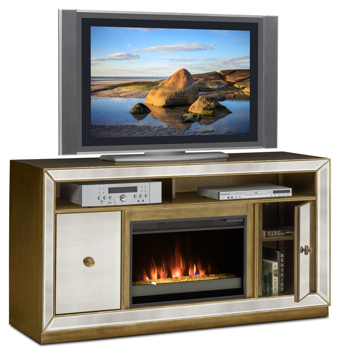 Reflection Contemporary Fireplace TV Stand - Mirror