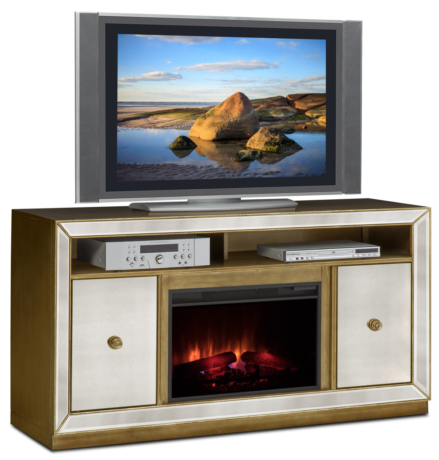 Entertainment Furniture - Reflection Traditional Fireplace TV Stand - Mirror