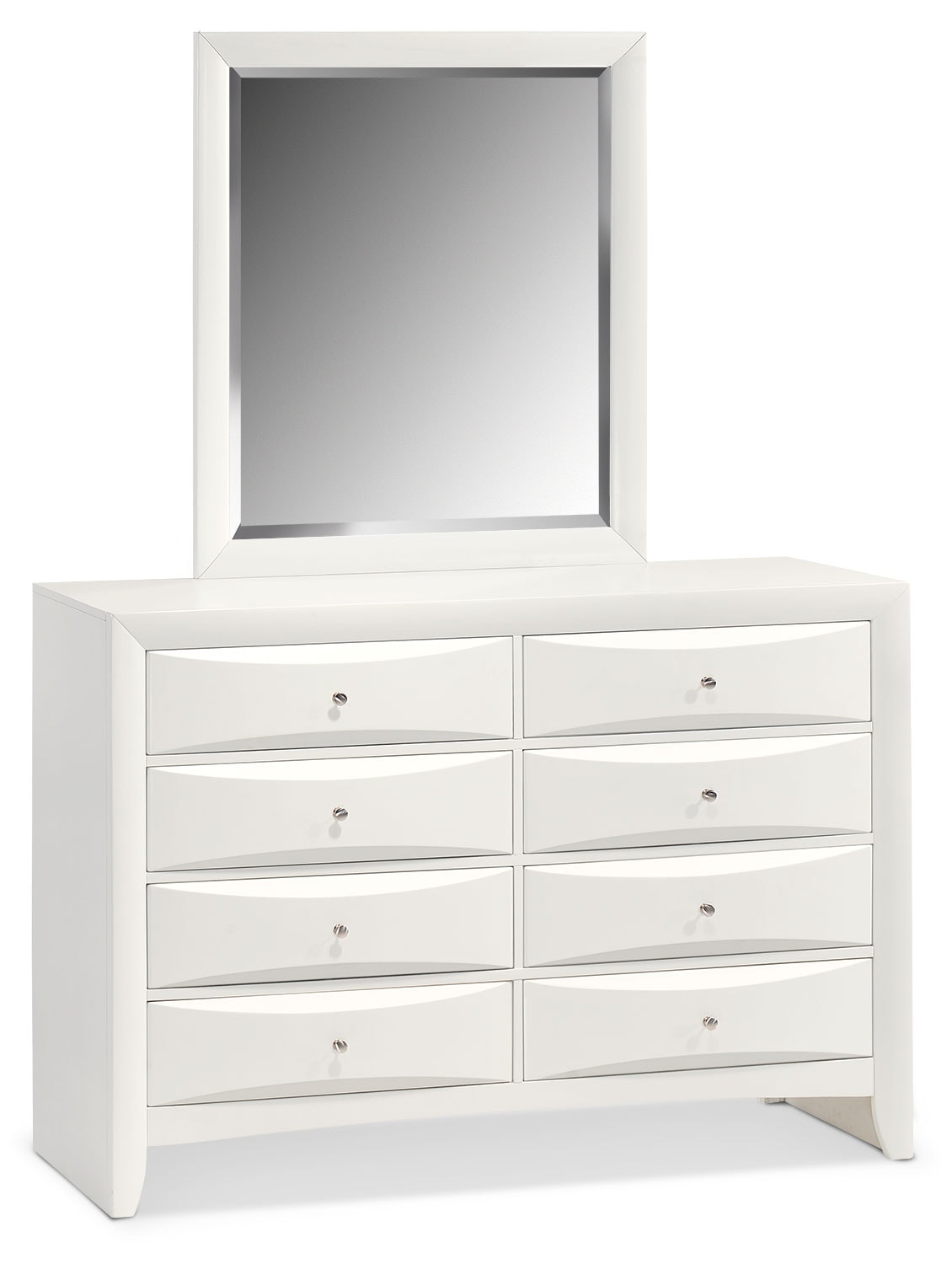braden dresser and mirror white value city furniture. Black Bedroom Furniture Sets. Home Design Ideas