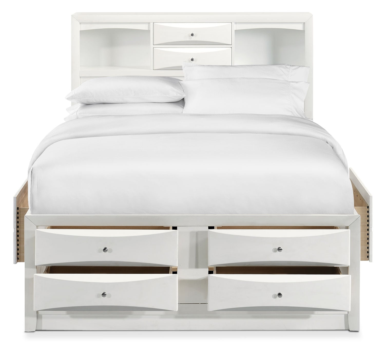Braden King Bookcase Bed with Storage - White | Value City ...