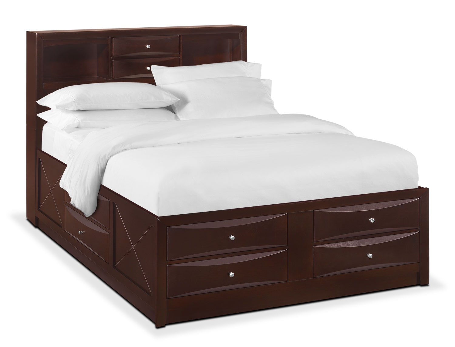 Bedroom Furniture - Braden King Bookcase Bed with Storage - Merlot