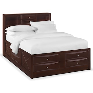 Braden Queen Bookcase Bed with Storage - Merlot