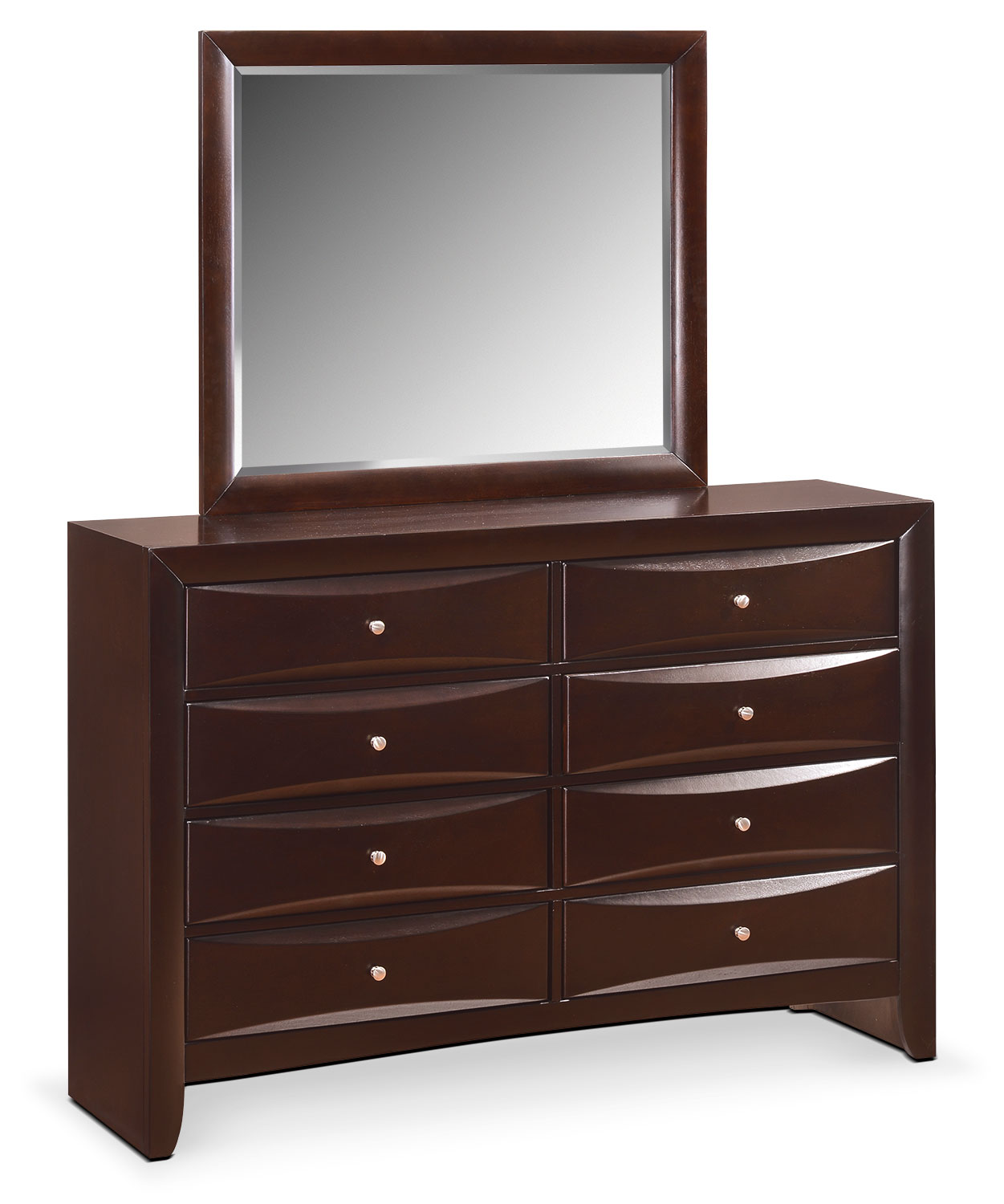 Bedroom Furniture - Braden Dresser and Mirror - Merlot