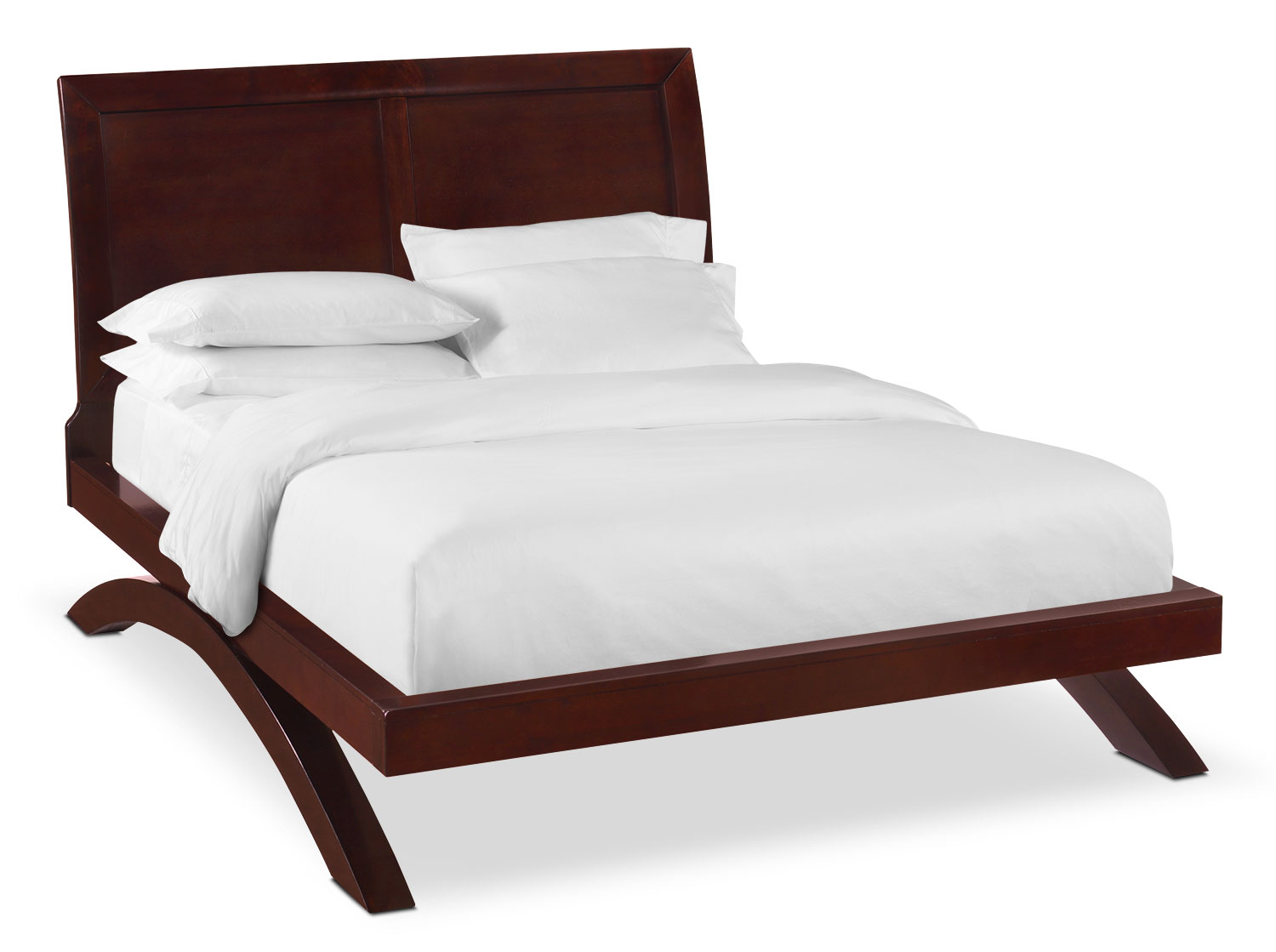 Bedroom Furniture - Jaden Queen Arch Bed - Merlot