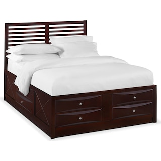 Braden Full Slat Bed with Storage - Merlot