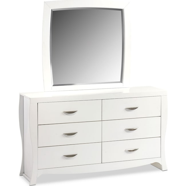 Bedroom Furniture - Jaden Dresser and Mirror - White