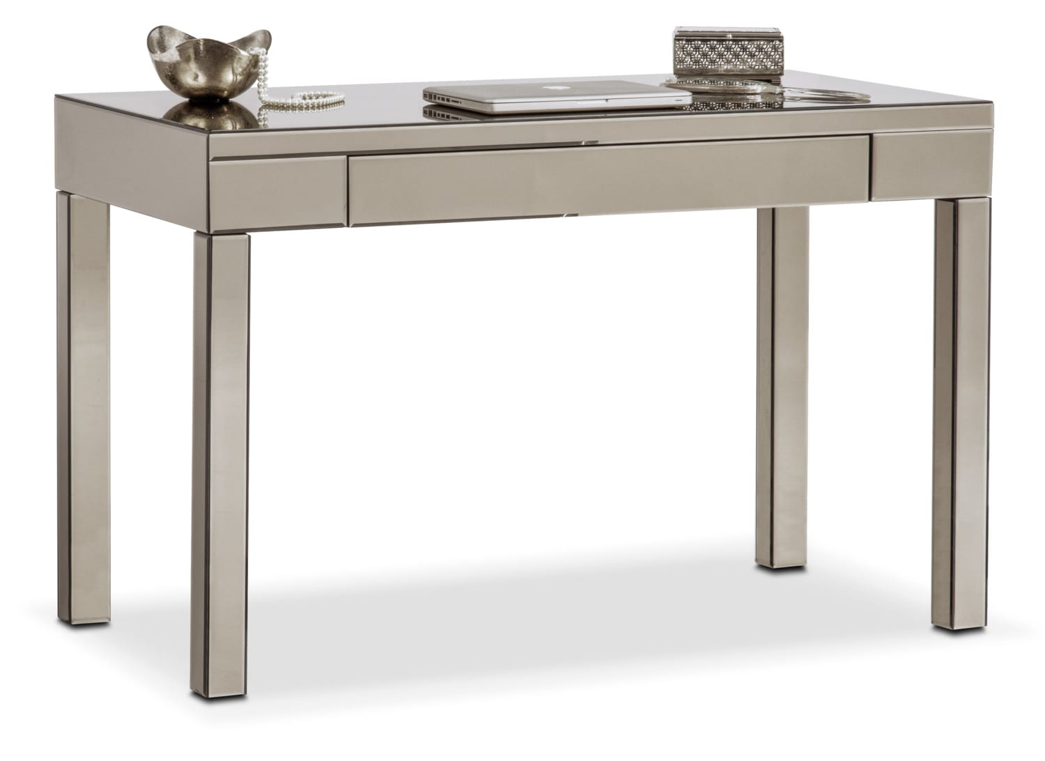 Home Office Furniture   Brio Mirrored Desk   Gray. Hover To Zoom