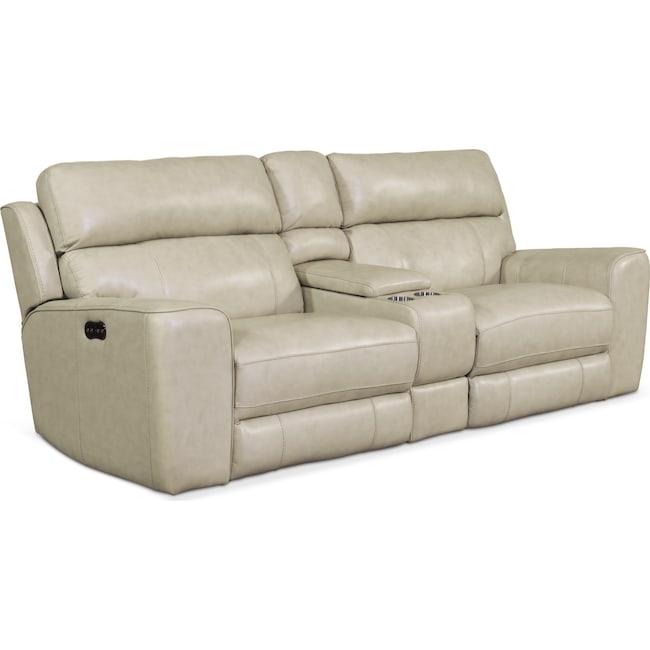 Living Room Furniture - Newport 3-Piece Power Reclining Sofa - Cream