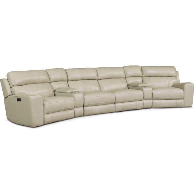 Living Room Furniture - Newport 6-Piece Power Reclining Sectional with 2 Wedge Consoles - Cream