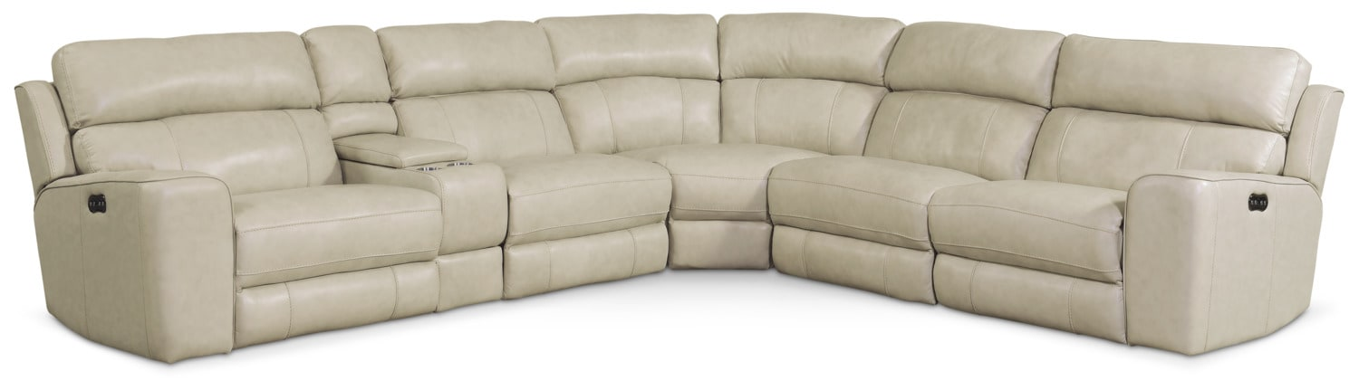 Living Room Furniture - Newport 6-Piece Power Reclining Sectional with 3 Reclining Seats - Cream