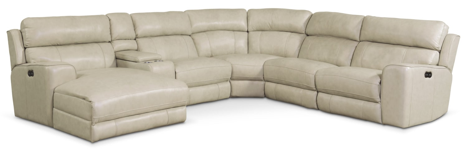 Living Room Furniture - Newport 6-Piece Power Reclining Sectional with Left-Facing Chaise and 2 Recliners - Cream