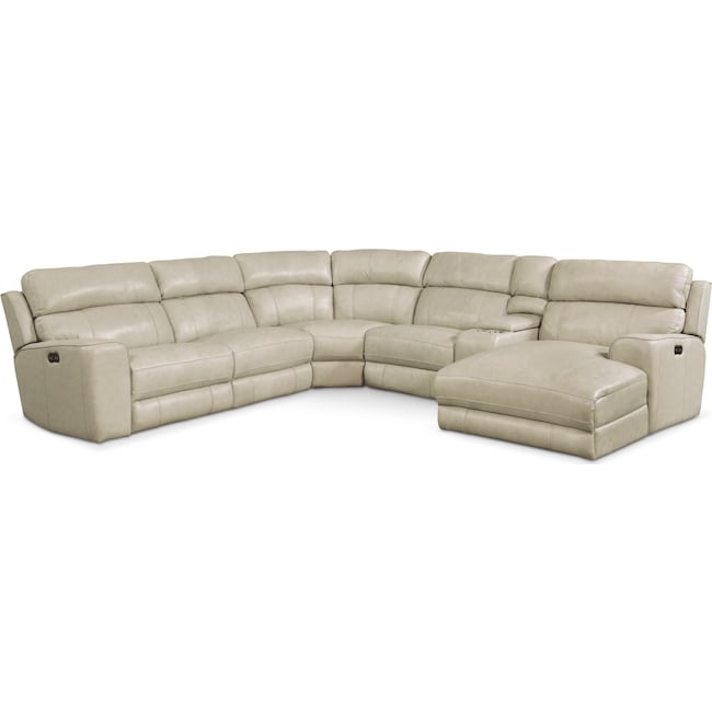 Living Room Furniture - Newport 6-Piece Power Reclining Sectional with Right-Facing Chaise and 2 Recliners - Cream