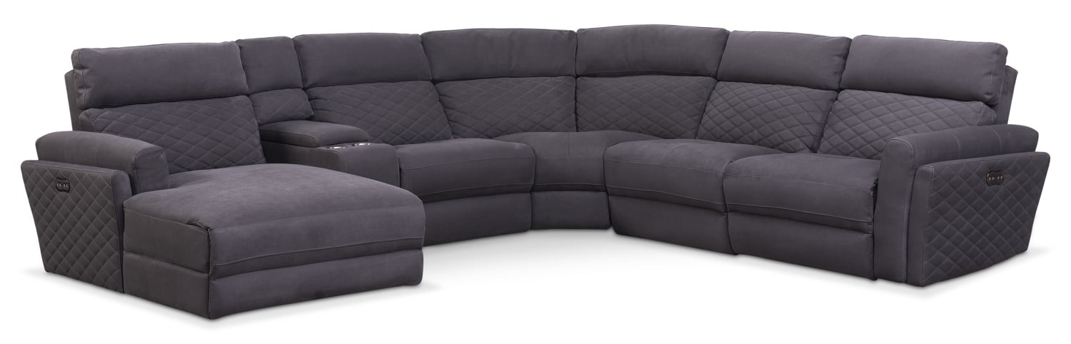 Living Room Furniture - Catalina 6-Piece Power Reclining Sectional with Left-Facing Chaise and 2 Recliners - Gray