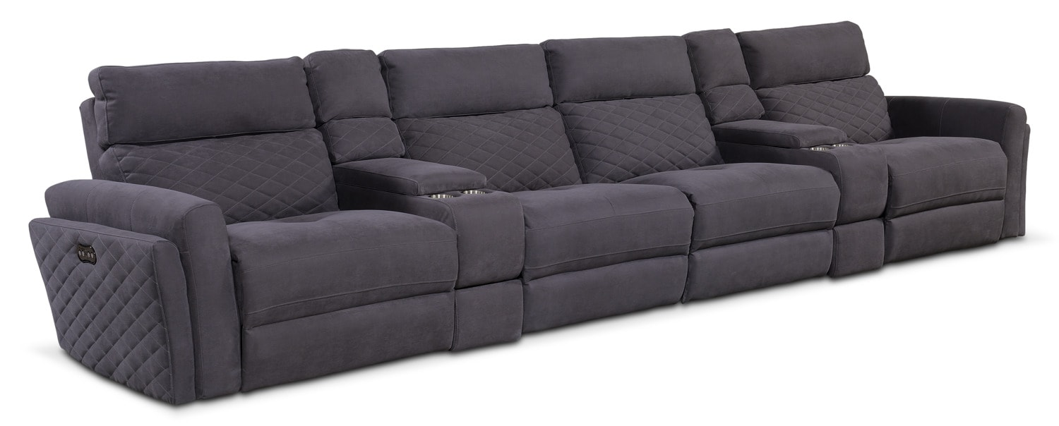 Catalina 6-Piece Power Sectional with 4 Reclining Seats - Gray