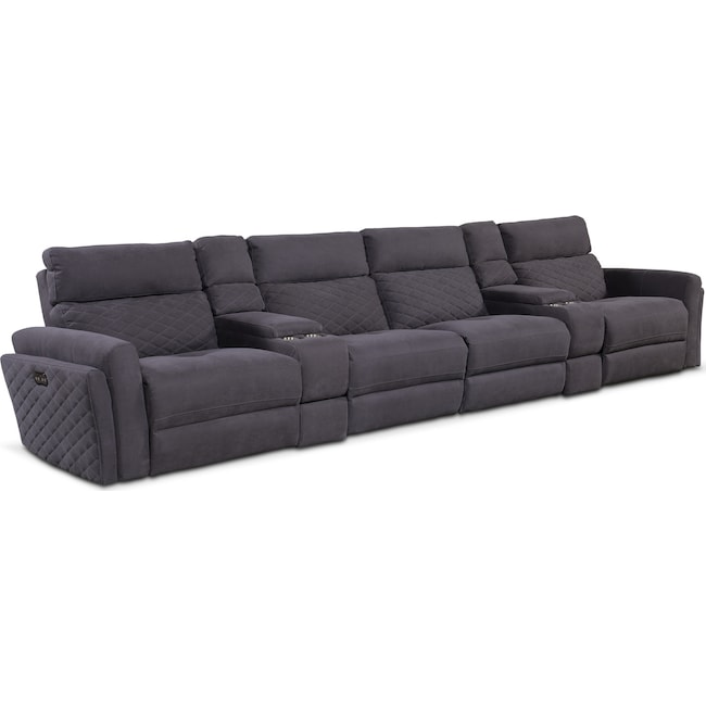 Living Room Furniture - Catalina 6-Piece Power Sectional with 4 Reclining Seats - Gray