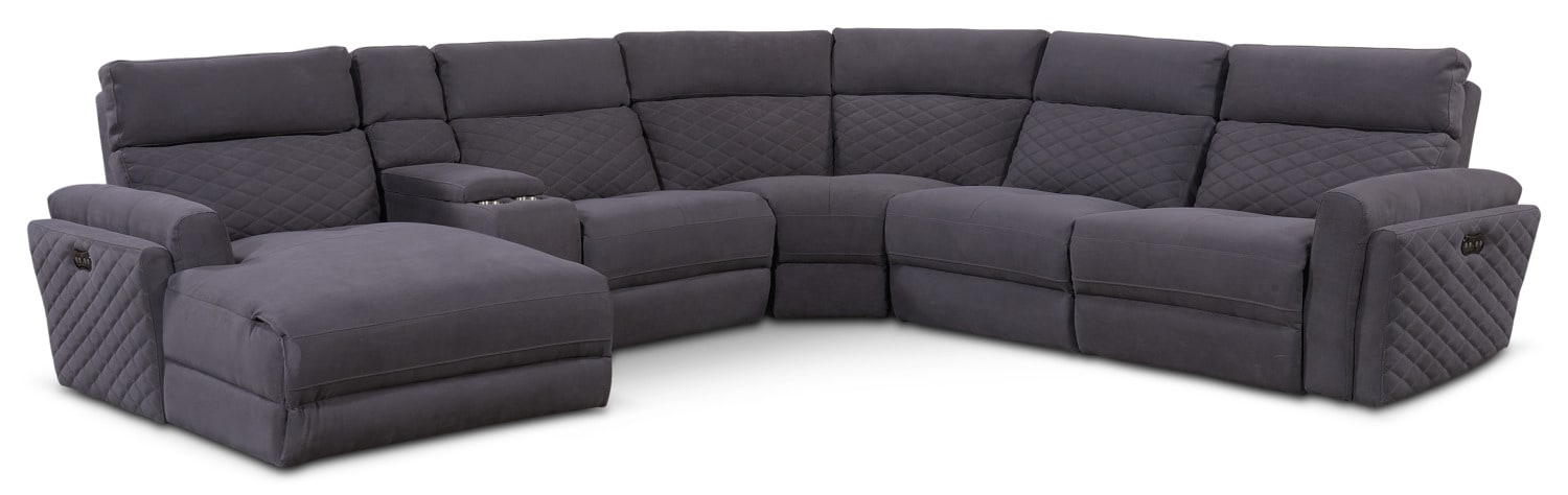 Living Room Furniture - Catalina 6-Piece Power Reclining Sectional with Left-Facing Chaise with 1 Recliner - Gray