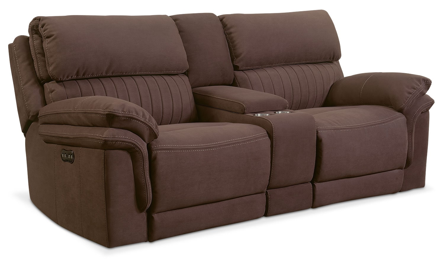 Living Room Furniture - Monterey 3-Piece Power Reclining Sofa with Console - Mocha
