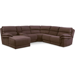 Monterey 6-Piece Power Reclining Sectional with Left-Facing Chaise and 2 Recliners - Mocha