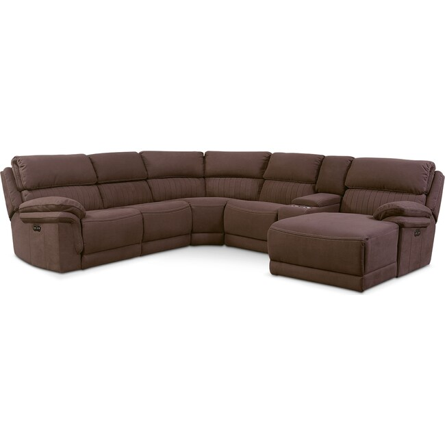Living Room Furniture - Monterey 6-Piece Power Reclining Sectional with Right-Facing Chaise and 2 Recliners - Mocha