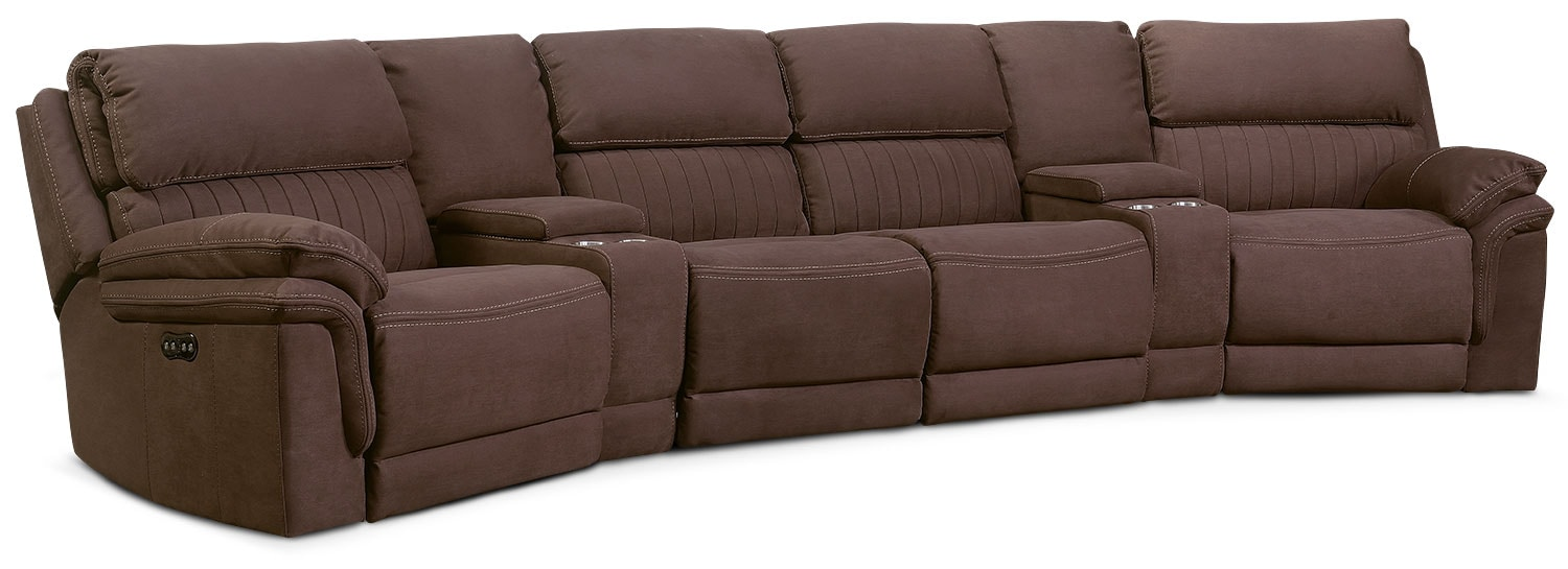 Living Room Furniture - Monterey 6-Piece Power Reclining Sectional with 2 Wedge Consoles - Mocha