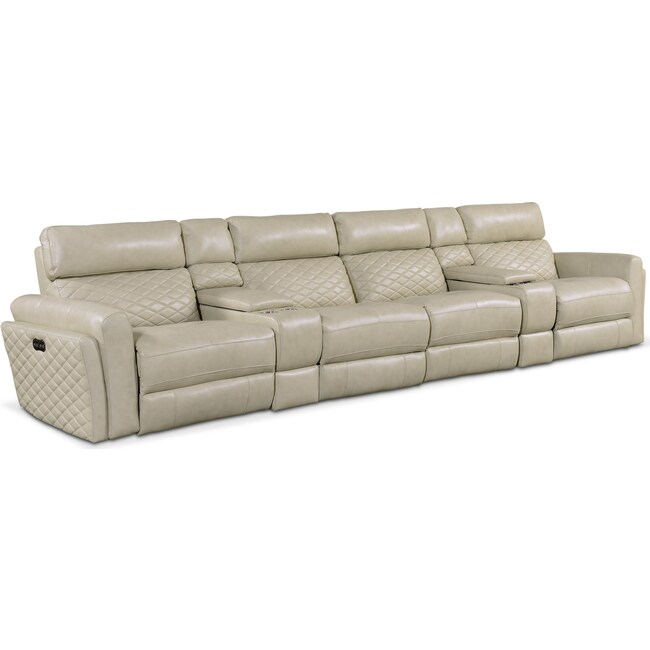 Living Room Furniture - Catalina 6-Piece Dual-Power Reclining Sectional with 4 Reclining Seats