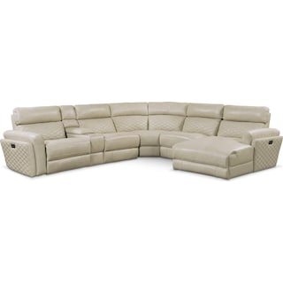 Catalina 6-Piece Power Reclining Sectional with Right-Facing Chaise and 2 Recliners - Cream