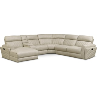 Catalina 6-Piece Power Reclining Sectional with Left-Facing Chaise and 2 Recliners - Cream