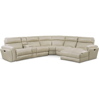Catalina 6-Piece Power Reclining Sectional with Right-Facing Chaise and 1 Recliner - Cream