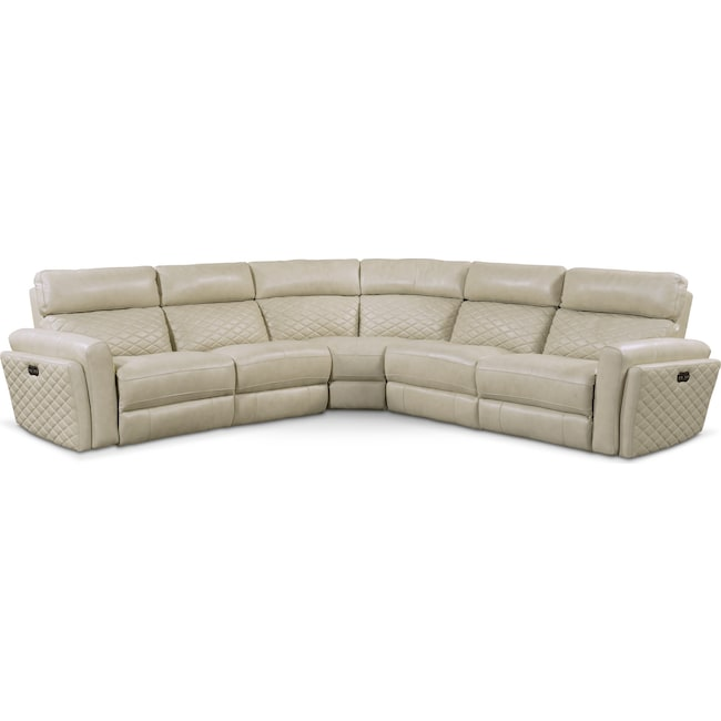 Living Room Furniture - Catalina 5-Piece Power Reclining Sectional with 2 Reclining Seats