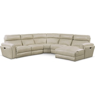 Catalina 5-Piece Power Reclining Sectional with Right-Facing Chaise and 1 Recliner - Cream