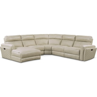 Catalina 5-Piece Power Reclining Sectional with Left-Facing Chaise and 1 Recliner - Cream
