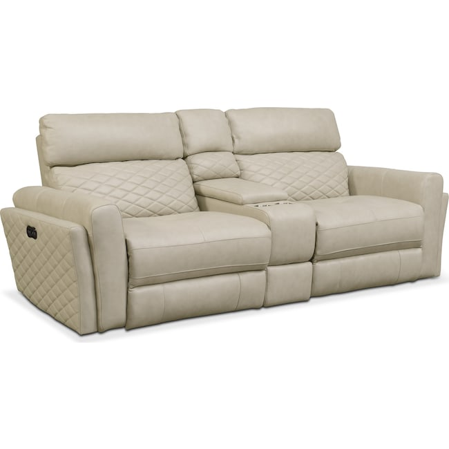 Living Room Furniture - Catalina 3-Piece Power Reclining Sofa with Console - Cream