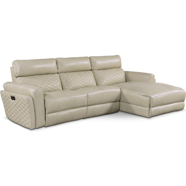 Living Room Furniture - Catalina 3-Piece Power Sectional with Right-Facing Chaise - Cream