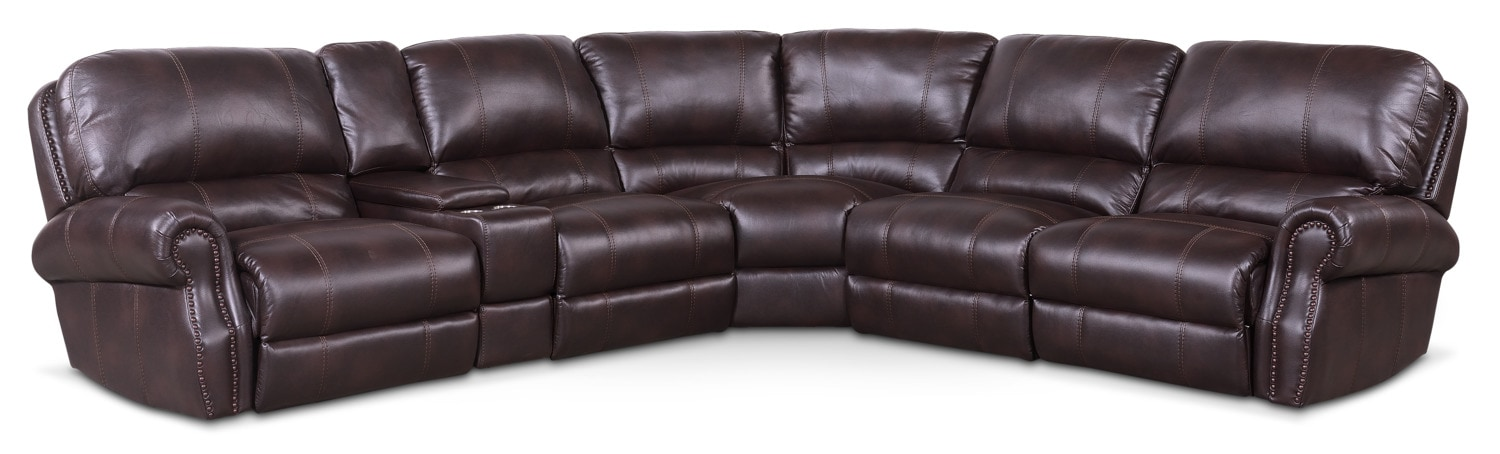 Living Room Furniture - Dartmouth 6-Piece Power Reclining Sectional with 2 Recliners - Burgundy