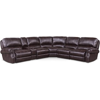 Dartmouth 6-Piece Power Reclining Sectional with 2 Reclining Seats - Burgundy