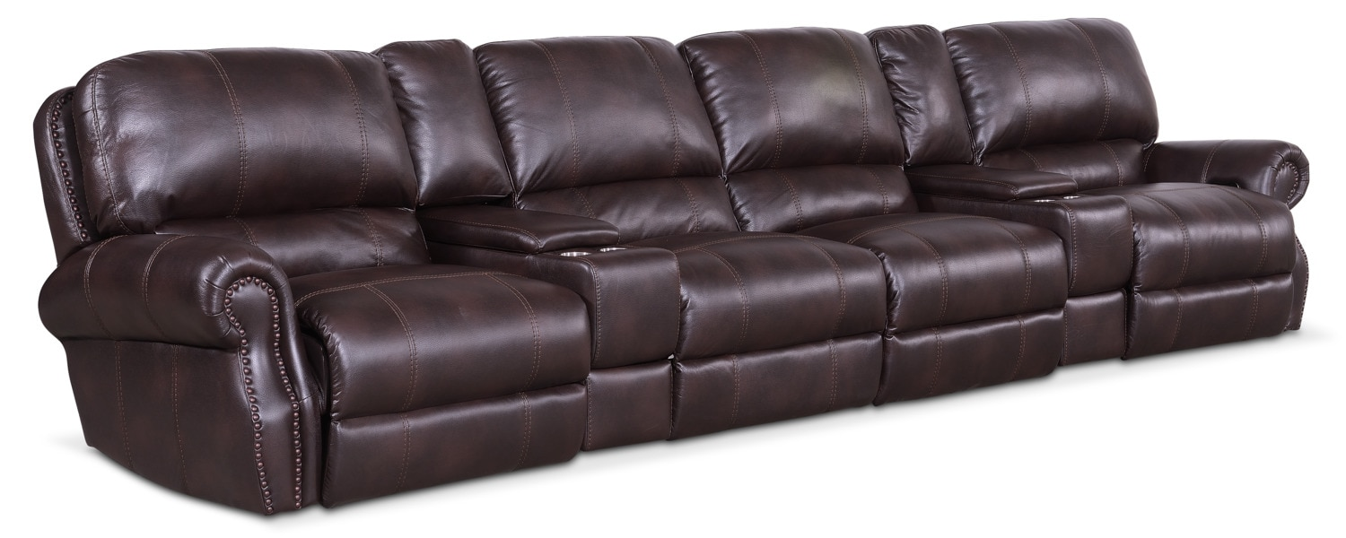 Living Room Furniture - Dartmouth 6-Piece Dual Power Reclining Sectional with 4 Reclining Seats