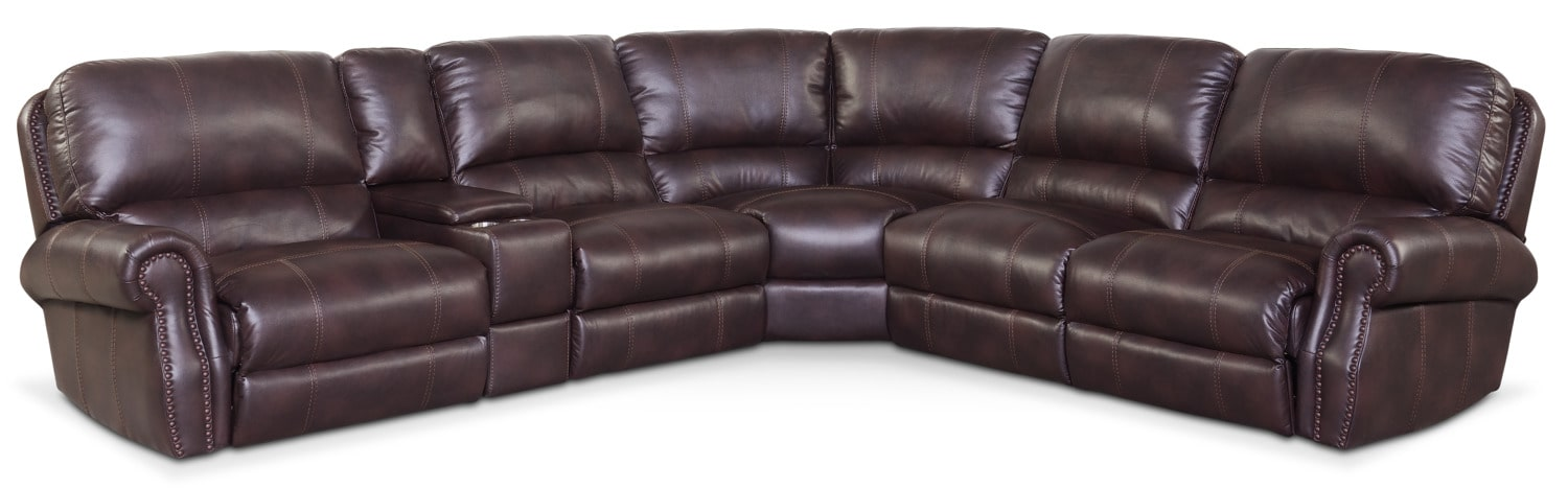 Dartmouth 6-Piece Power Reclining Sectional with 3 Reclining Seats - Burgundy