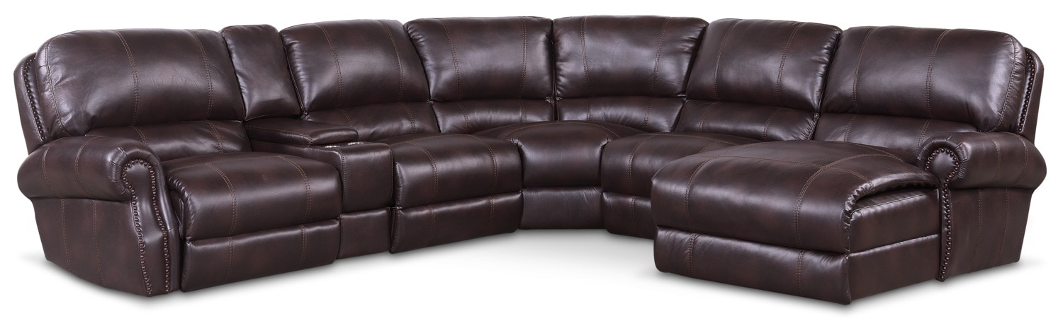 Dartmouth 6 Piece Power Reclining Sectional W/ Right Facing Chaise And 2  Reclining