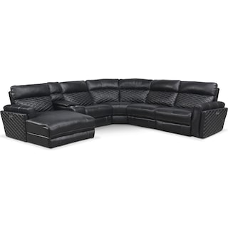 Catalina 6-Piece Power Reclining Sectional with Left-Facing Chaise and 2 Recliners - Black