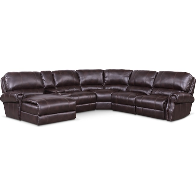 Living Room Furniture - Dartmouth 6-Piece Power Reclining Sectional w/ Left-Facing Chaise and 1 Reclining Seat - Burgundy