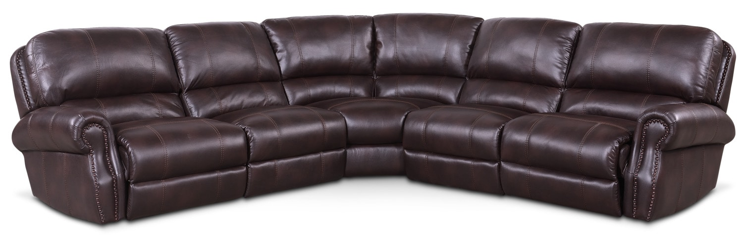 Living Room Furniture - Dartmouth 5-Piece Power Reclining Sectional with 2 Recliners - Burgundy